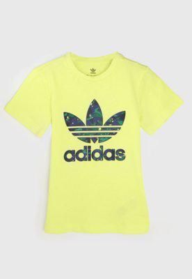 Camiseta adidas originals infantil trefoil amarela