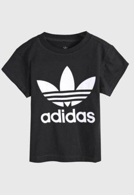 Camiseta adidas originals infantil trefoil preta