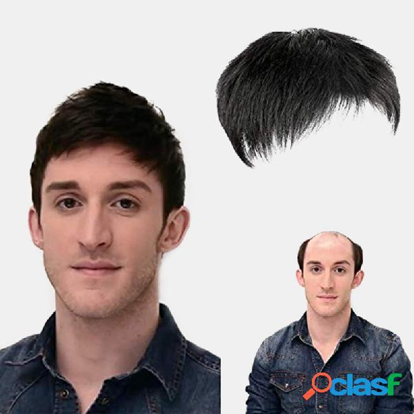 Homens cabelo bloco de substituição calvície mediterrâneo franja respirável curta reto humano cabelo peruca