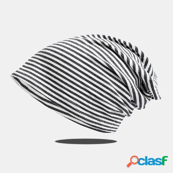 Gorro feminino de malha com listras horizontais de algodão respirável chapéu