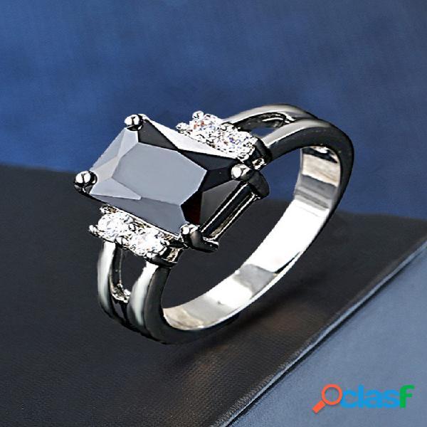 Anéis de dedo de diamantes geométricos vintage anéis de casal incrustados de cristal quadrado anéis de zircão