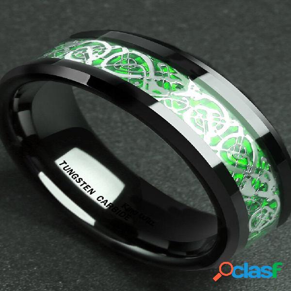 Anéis de dedo vintage em fibra de carbono sólido símbolo musical vermelho anel de dedo étnico joias para homens