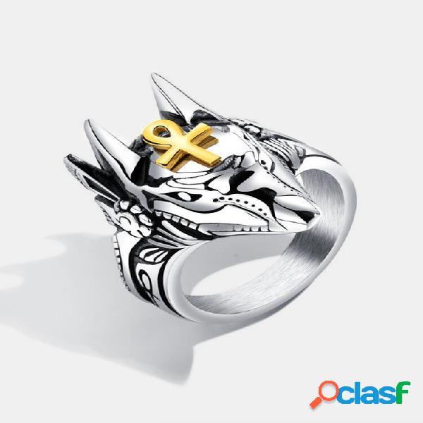 Anéis de dedo punk titânio aço cruz anúbis retrato cabeça anéis de dedo acessórios joias para homens