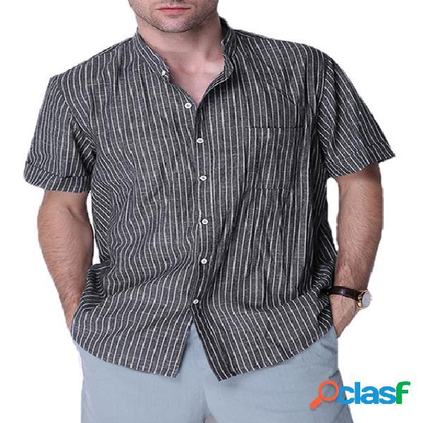 Homem casual risca de giz com botão e bolso em linho de algodão manga curta camisa