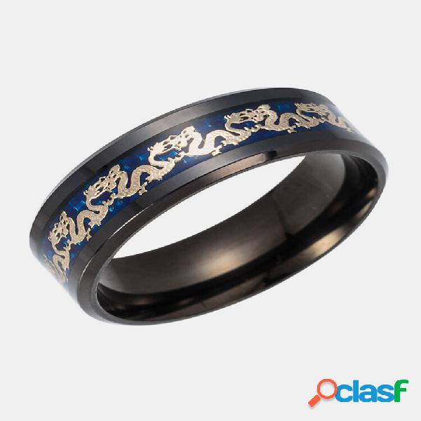 Anéis de dedo vintage chinês dragão padrão anéis de dedo de titânio em aço joalheria étnica para homens