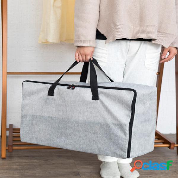 Linho algodão zíper colcha armazenamento bolsa espessamento saco sólido à prova de hidratação bolsa