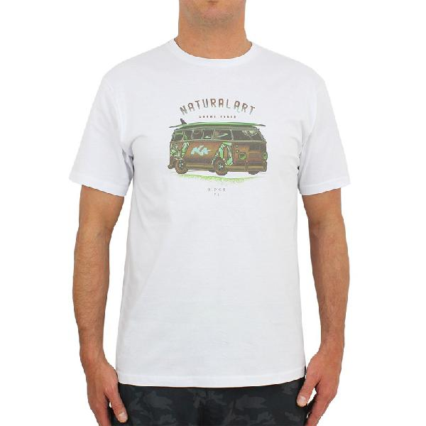 Camiseta natural art surf house white - surf alive