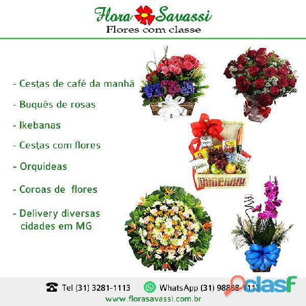 Floricultura flores cesta de café e coroas em Passa Tempo Pequi, Piedade dos Gerais FLORA SAVASSI