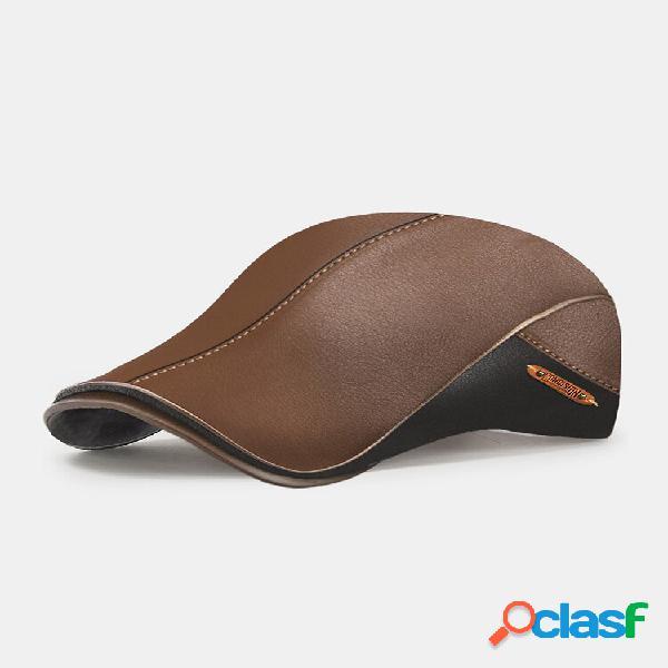 Collrown masculino pu cor sólida patchwork carta etiqueta guarda-sol ajustável boina calor tampa plana