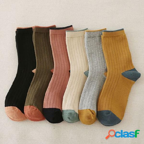 Novas meias de tubo senhoras meias de tubo de cor sólida modelos criativos meias de algodão para mulheres