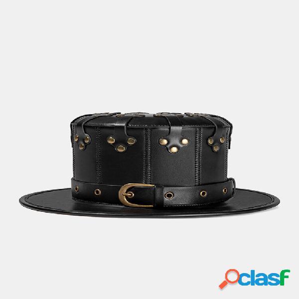 Halloween homens pu cor sólida peste médico rebite pin fivela decoração punk top chapéu balde chapéu