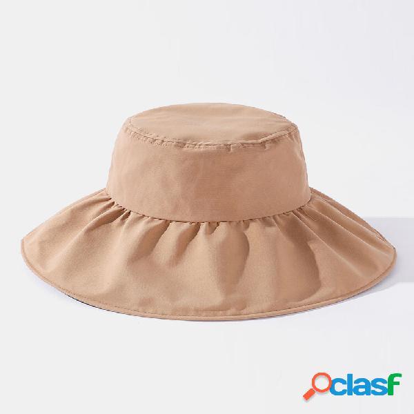 Mulheres algodão poliéster cor sólida black forro de borracha uv balde com viseira de aba grande de proteção solar chapé