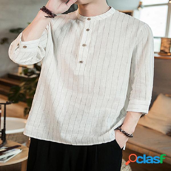 Incerun linho de algodão listrado vintage estilo chinês vintage camisa