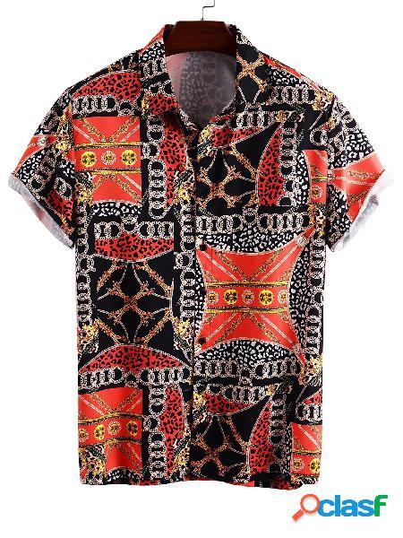 Estampa de lenço de algodão masculina verão hawaii bohemian praia feriado camisa