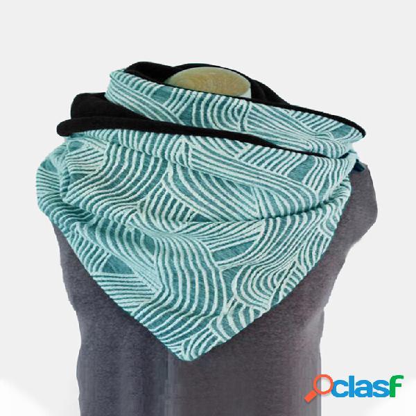 Lenço feminino de algodão listrado padrão casual engrossar xale quente