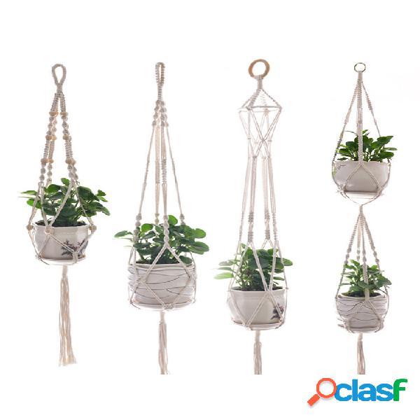 4 pcs macrame planta cabide e ganchos internos e externos suspensos planta suporte plantaer decoração de flores