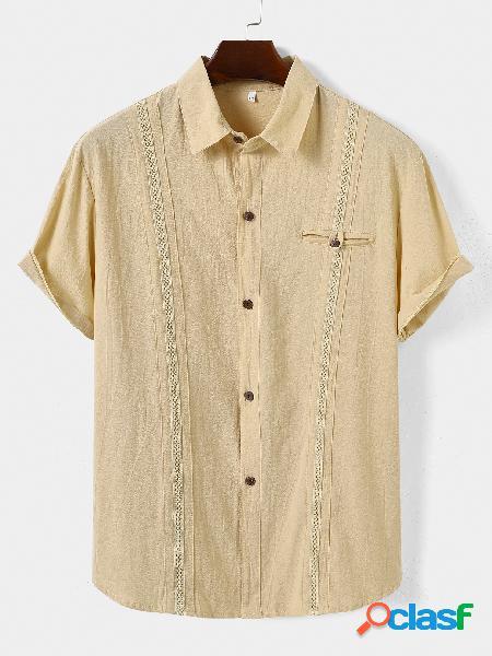 Homem verão linho casual cor sólida plissada camisa