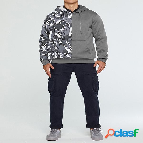 Moletom com capuz masculino outono / inverno casual patchwork camuflado
