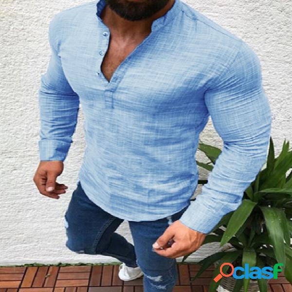 Homem casual cor sólida linho botão frontal manga comprida henley camisa