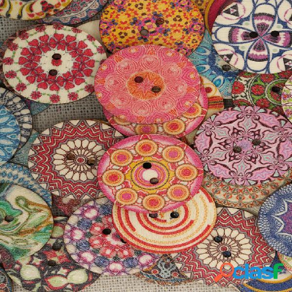 5peças botões de madeira multi-cor redondo costura diy