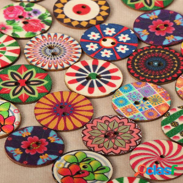 100 pcs 25mm botões de madeira vintage de flor pintada de costura de dois olhos diy