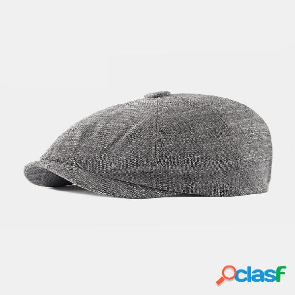 Homens, personalidade casual, cor lisa, jornaleiro chapéu protetor solar respirável tampa octogonal plana chapéu