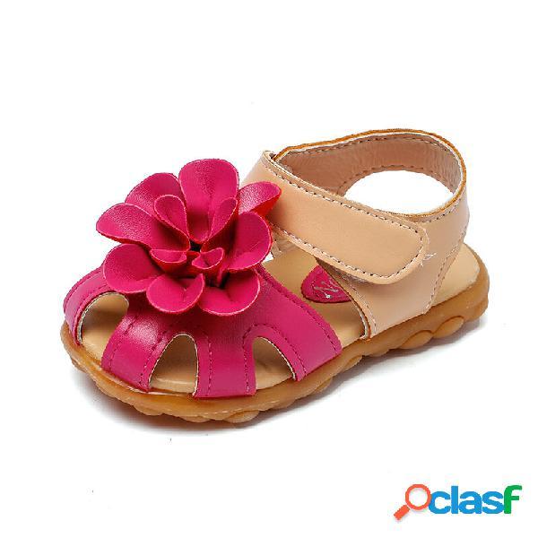 Meninas flores decoração dedo do pé fechado soft sandálias bonitos único