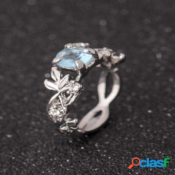 Anéis de prata de cristal azul elegante moda folha anel em forma de melhor presente para mulheres