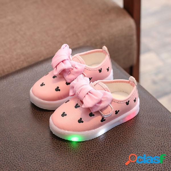 Meninas bowknot decor led gancho loop sapatos baixos casuais