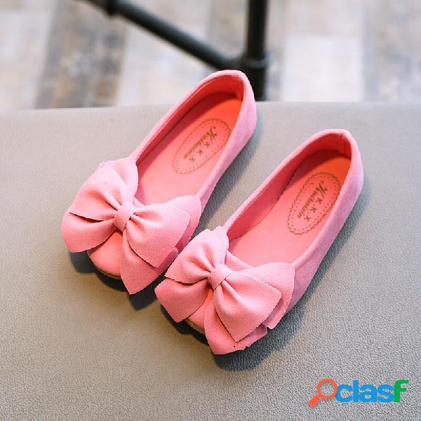Meninas camurça bowknot decoração confortáveis sapatos casuais wearable