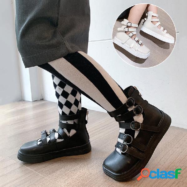 Meninas praça toe multi buckle banda high top voltar zipper princesa sapatos baixos
