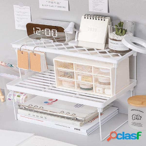 1 pc organizador de armário doméstico prateleira de armazenamento de mesa para prateleiras de cozinha, economizando espa