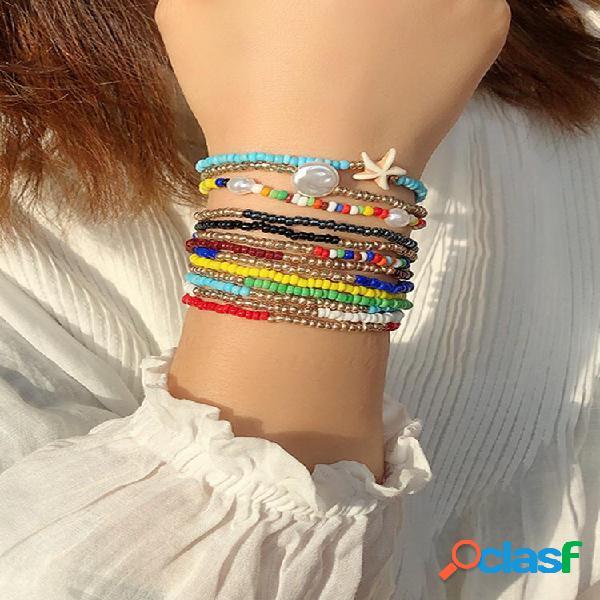 3 unidades colorful praia conjunto de pulseiras de contas de arroz pearl starfish elastic corda pulseira feminina de con