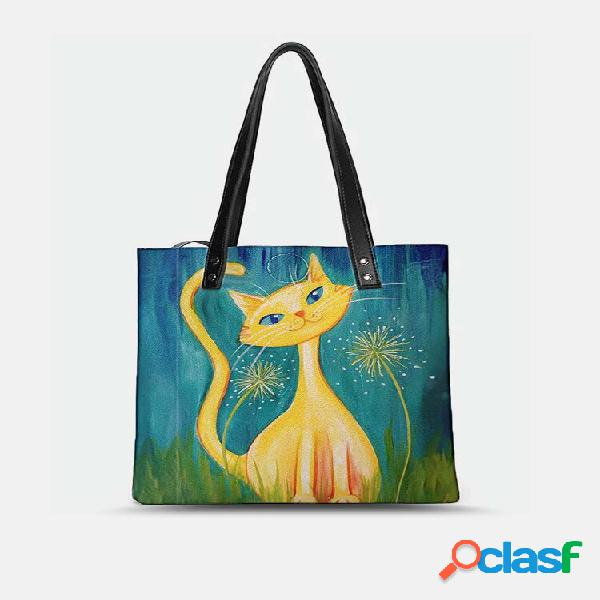 Adorável psychedelic cats print padrão comfy waterwater multi-pockets magnetic clasp tote