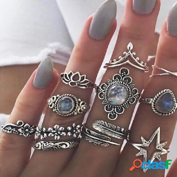 Anel de dedo vintage com folhas de joia estrelada flor borboleta conjunto de anéis de junta joias da moda para mulheres
