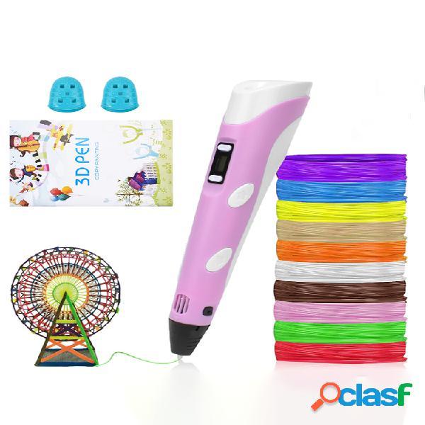 Caneta 3d led tela diy criativa caneta de impressão 3d com usb 100m abs filamento criativo brinquedo presente para crian