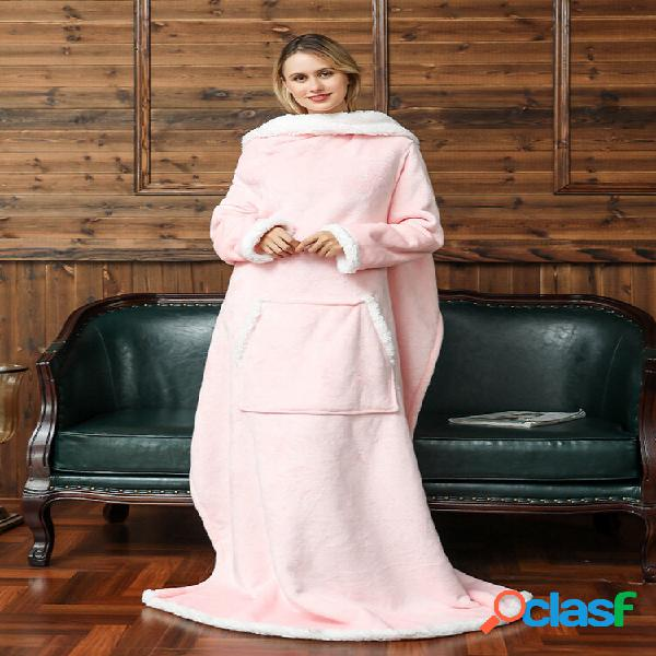 Cobertor de lã com capuz e mangas ao ar livre quente soft capuz com capuz e bolso frontal cobertor de flanela para tv
