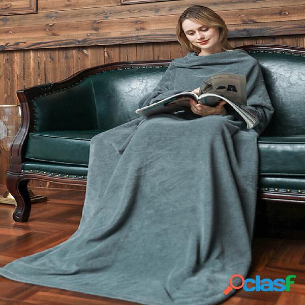 Cobertor liso para sofá inverno quente soft cobertor pesado de flanela com mangas de viagem cobertor longo preguiçoso de