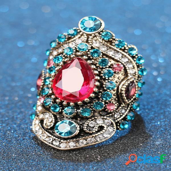Gota de água geométrica vintage rosa anéis de strass metal cristal azul incrustado em anel de dedo