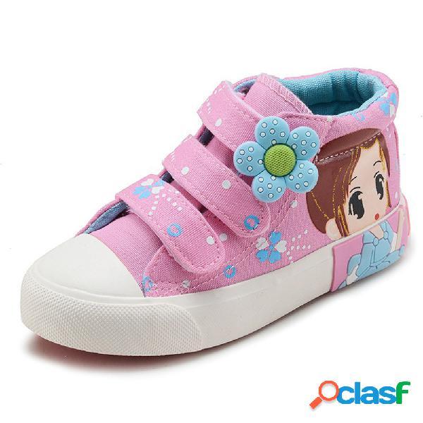 Meninas lona dos desenhos animados floral decoração gancho loiro lindo calçados casuais