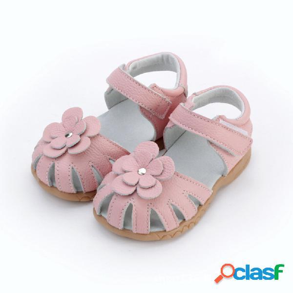 Meninas flores decoração antiderrapante antiderrapante sandálias de couro de dedo do pé fechado