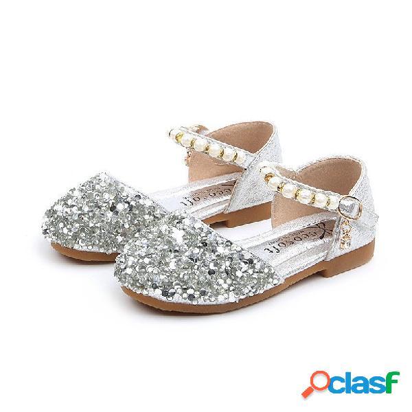 Meninas lantejoulas pérolas decoração gancho laço brilhante princesa sapatos baixos