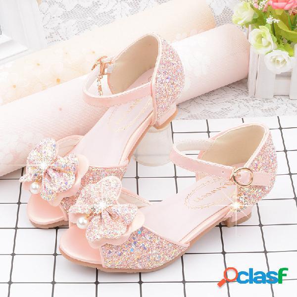 Meninas bling decoração bowknot frozen elsa princesa peep toe sapatos de dança