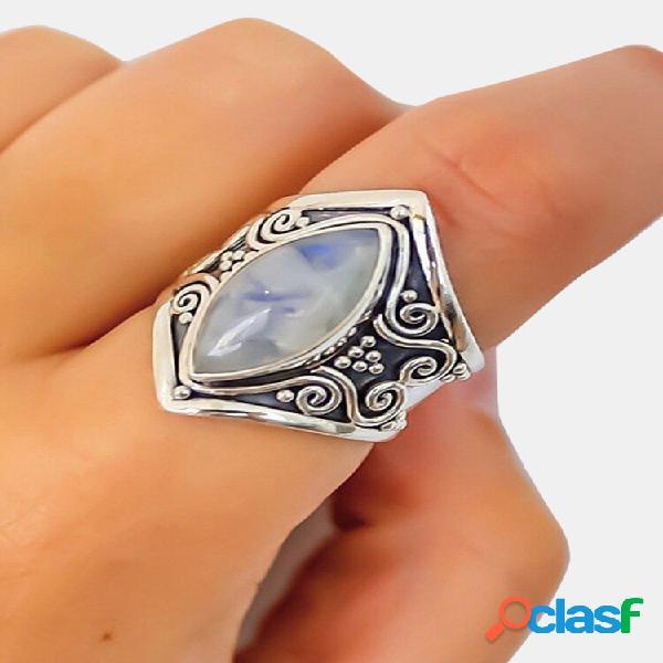 Anel de dedo de pedra da lua vintage acessórios de dedo da moda joias para mulheres