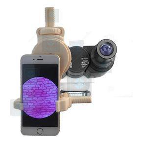 Adaptador celular no microscópio para tirar fotos vídeos
