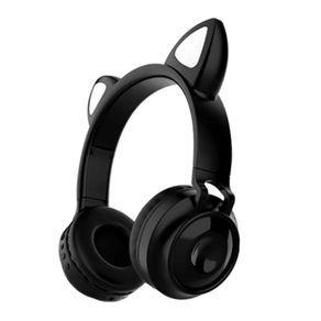 Fone de ouvido sem fio orelhas de gato 8 cores de led preto