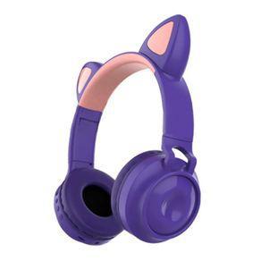 Fone de ouvido sem fio orelhas de gato 8 cores de led roxo