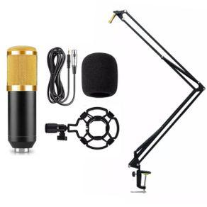 Microfone bm800 condensador + braço suporte articulado mesa