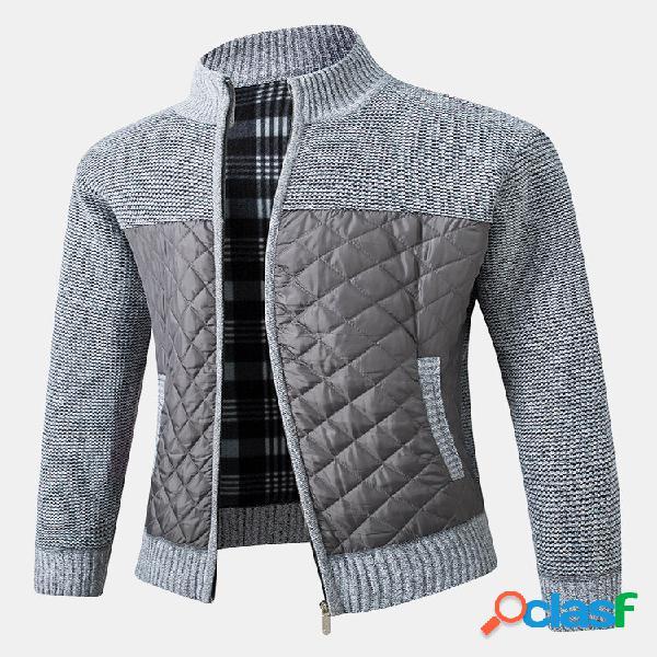 Masculino patchwork zip up knit algodão slant pocket casacos casacos de manga longa