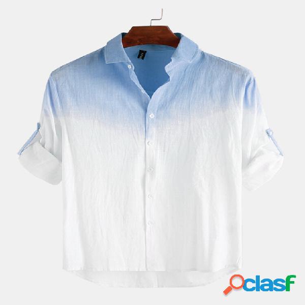 Masculino algodão gradiente impressão casual manga longa camisa